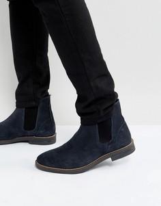 Темно-синие замшевые ботинки челси Silver Street - Синий