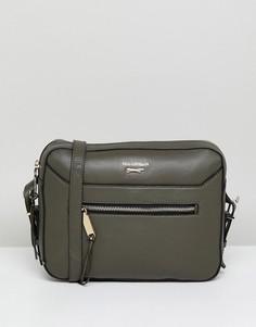 Кожаная сумка через плечо с карманом на молнии Paul Costelloe - Зеленый