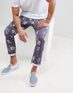 Укороченные брюки узкого кроя с выбеленным винтажным принтом листьев ASOS - Темно-синий