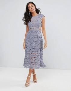 Кружевное платье миди Forever Unique - Серый