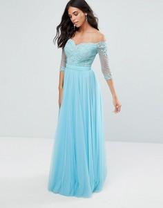 Платье макси с рукавами 3/4 и открытыми плечами Forever Unique - Синий