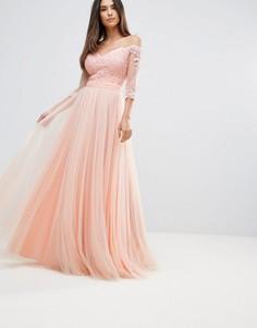 Платье макси с рукавами 3/4 и открытыми плечами Forever Unique - Розовый