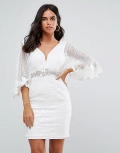 Кружевное платье мини с рукавами летучая мышь Forever Unique - Кремовый