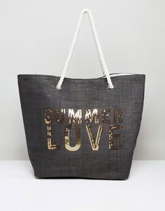 Пляжная соломенная сумка South Beach - Черный