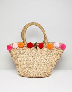 Розовая пляжная сумка с помпонами South Beach - Бежевый