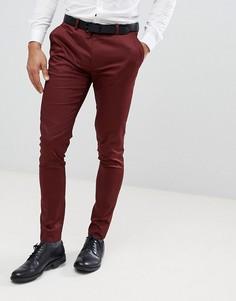 Бордовые супероблегающие брюки из хлопкового сатина ASOS WEDDING - Красный
