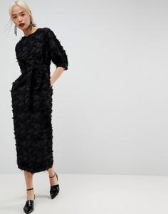 Жаккардовое платье ASOS WHITE - Черный