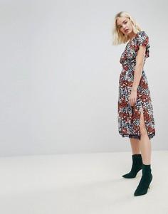 Платье миди с цветочным принтом и открытыми плечами Hazel - Мульти