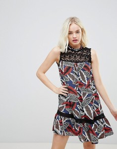 Платье с высоким воротом и кружевной отделкой Hazel - Темно-синий