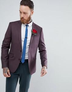 Бордовый блейзер скинни из 100% мериносовой шерсти ASOS WEDDING - Красный