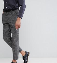Темно-серые фактурные строгие брюки заниженного кроя ASOS TALL - Серый