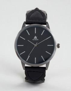 Часы с серебристым корпусом и черным плетеным ремешком из искусственной кожи АSOS - Черный Asos