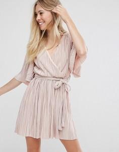 Платье в складку с широкими рукавами и завязкой на талии Oh my Love - Розовый