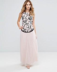 Платье макси с вышивкой и юбкой из тюля Little Mistress - Бежевый