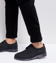 Черные кожаные дерби для широкой стопы на шнуровке с подошвой в рубчик ASOS - Черный