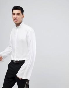 Рубашка стандартного кроя с присборенным воротником ASOS - Белый