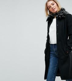 Пальто с воротником из искусственного меха Brave Soul Tall Davina - Черный