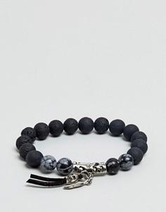 Браслет из бусин с черепом и полудрагоценными камнями ASOS - Черный