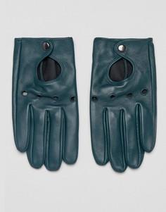 Зеленые кожаные перчатки ASOS - Зеленый