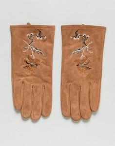 Светло-коричневые замшевые перчатки с вышивкой ASOS - Рыжий