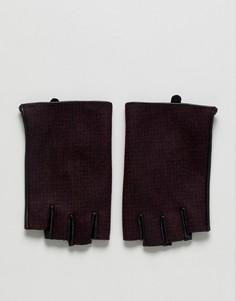 Бордовые кожаные перчатки без пальцев в клетку ASOS - Красный