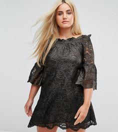 Кружевное короткое платье с открытыми плечами и рукавами клеш Elvi Allover - Золотой