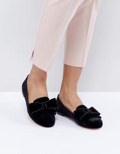 Туфли на плоской подошве с бантами Office - Черный