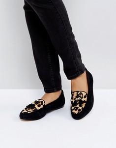 Замшевые туфли с леопардовым принтом на вставке Office Fedora - Черный