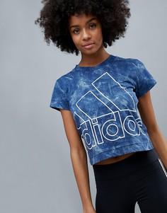 Синяя узкая футболка с принтом тай-дай adidas - Синий