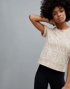 Узкая футболка с принтом тай-дай adidas - Бежевый