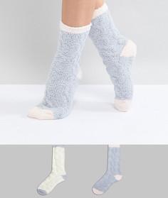 Набор кремовых и серых носков с узором косичка (2 пары) Penguin - Мульти