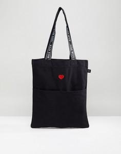 Черная сумка-тоут с вышивкой Lazy Oaf - Черный