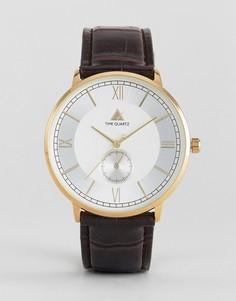Часы с римскими цифрами и коричневым ремешком ASOS - Коричневый