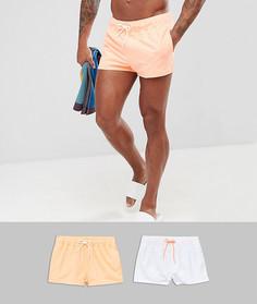 2 шорт для плавания (белый/ярко-оранжевый) ASOS - Мульти