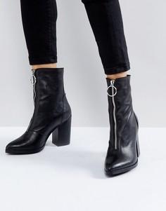 Мягкие кожаные ботинки на каблуке Depp - Черный