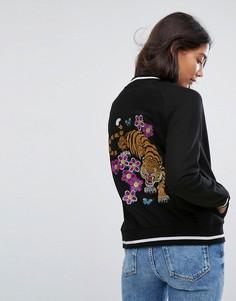 Бомбер с вышивкой тигра на спине Brave Soul - Черный