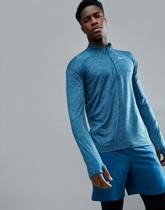 Синий свитшот с молнией 1/4 Nike Running Dry Element 857820-474 - Синий