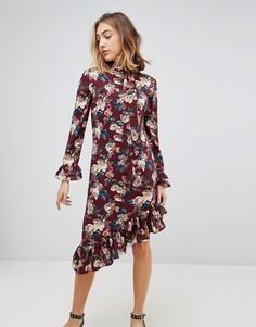 Платье с цветочным принтом и асимметричным краем Walter Baker Gayle - Красный