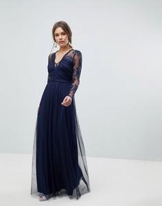 Платье макси с длинными рукавами ASOS - Темно-синий