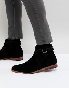 Черные замшевые ботинки челси с ремешком и бежевой подошвой ASOS - Черный