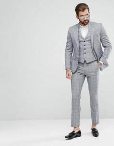 Темно-серые облегающие брюки в клетку Rudie - Серый