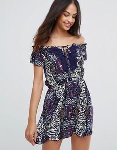 Платье с кружевом и принтом Ax Paris - Темно-синий