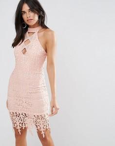 Розоватое кружевное платье миди Ax Paris - Розовый