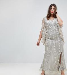 Платье макси с рукавами-кейп и отделкой A Star Is Born Plus - Серебряный