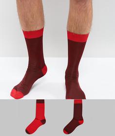 Набор из 2 пар блестящих бордовых носков ASOS - Красный