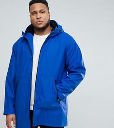 Синий дождевик с меховой подкладкой на капюшоне ASOS PLUS - Синий