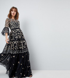 Платье миди с отделкой и рукавами клеш Needle & Thread - Черный