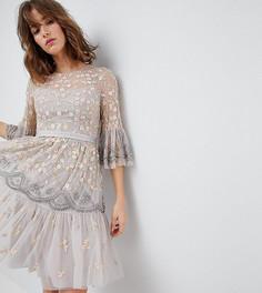 Платье миди с отделкой и рукавами клеш Needle & Thread - Бежевый