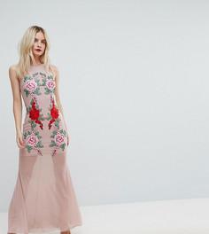 Платье макси с кружевной аппликацией NaaNaa Petite - Бежевый