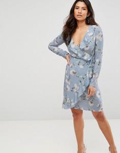 Платье с цветочным принтом и запахом Girl In Mind - Синий